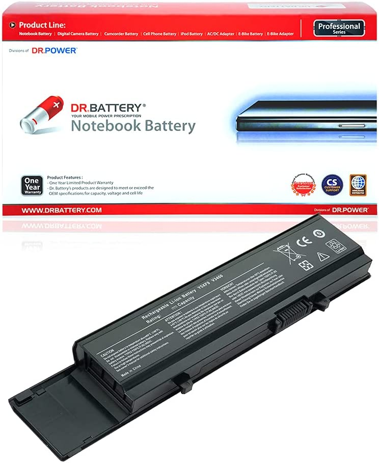 DR. BATTERY 7FJ92 Laptop Battery Compatible with Dell Vostro 3700 3500 3400 Series CYDWV 04D3C 4JK6R 312-0998 312-0997 Y5XF9 0TXWRR 04GN0G 0TY3P4[11.1V/4400mAh/49Wh]