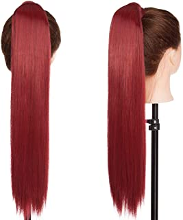 S-noilite Newest Pop Long Straight Curly Wavy Wrap Around on Ponytail Clip in Pony Tail Hair Extensions Natural Synthetic Hairpiece (23inchs-straight, maroon mix dark red)