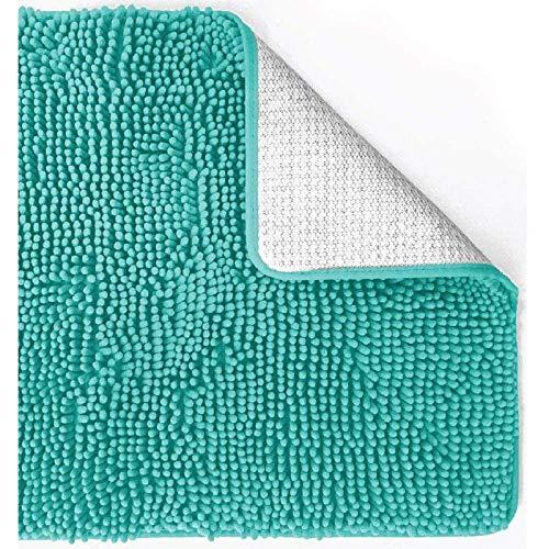 SAMZO Alfombra de baño Alfombras de microfibra suave Shag Rug Machine Plush Blue