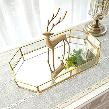 Decorative Tray ,Vintage Glass Jewelry Tray with Mirrored Bottom Vanity Organizer for Accent Table,Gold Leaf Finish