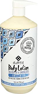 Alaffia - Everyday Shea Body Lotion, Normal to Very Dry Skin, Moisturizing Support for Hydrated, Soft, and Supple Skin with Shea Butter and Lemongrass, Fair Trade, Unscented, 32 Ounces