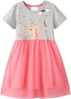 EU World Toddler Girls Dress Animal Print Summer Short Sleeve T-Shirt Dresses Size 3T-7T