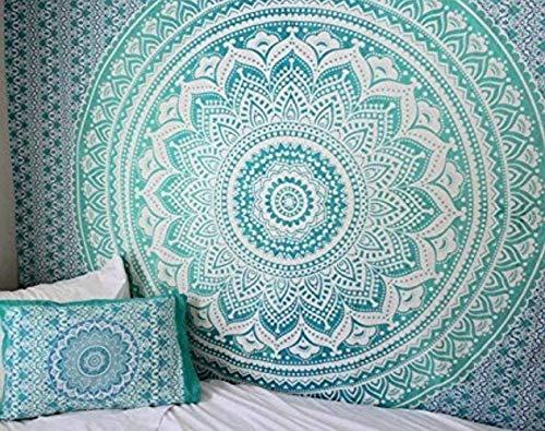 Grüne Tapisserie - 127x152 cm - Türkis - Kleine Wandteppiche für Schlafzimmer - Schatten von Mandala, Tagesdecken