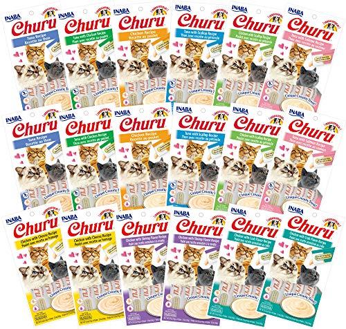 INABA Churu Lickable Purée Natural Cat Treats (All 9 Flavors Variety Pack, 72 Tubes)