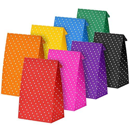 24 Pezzi Borse di Carta DOT Festa Regalo Sacchetti di Carta Pranzo Piatto Fondo Mestiere Borse di Carta, Multicolore