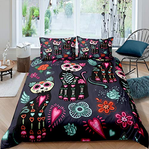 Navy Flower Cat Duvet Cover Set King Bohemian Bedding Set Kids Soft Microfiber for Children Adult Cartoon Skull Bedspread Bed Cover for Best Gift (1 Duvet Cover +2 Pillowcases)