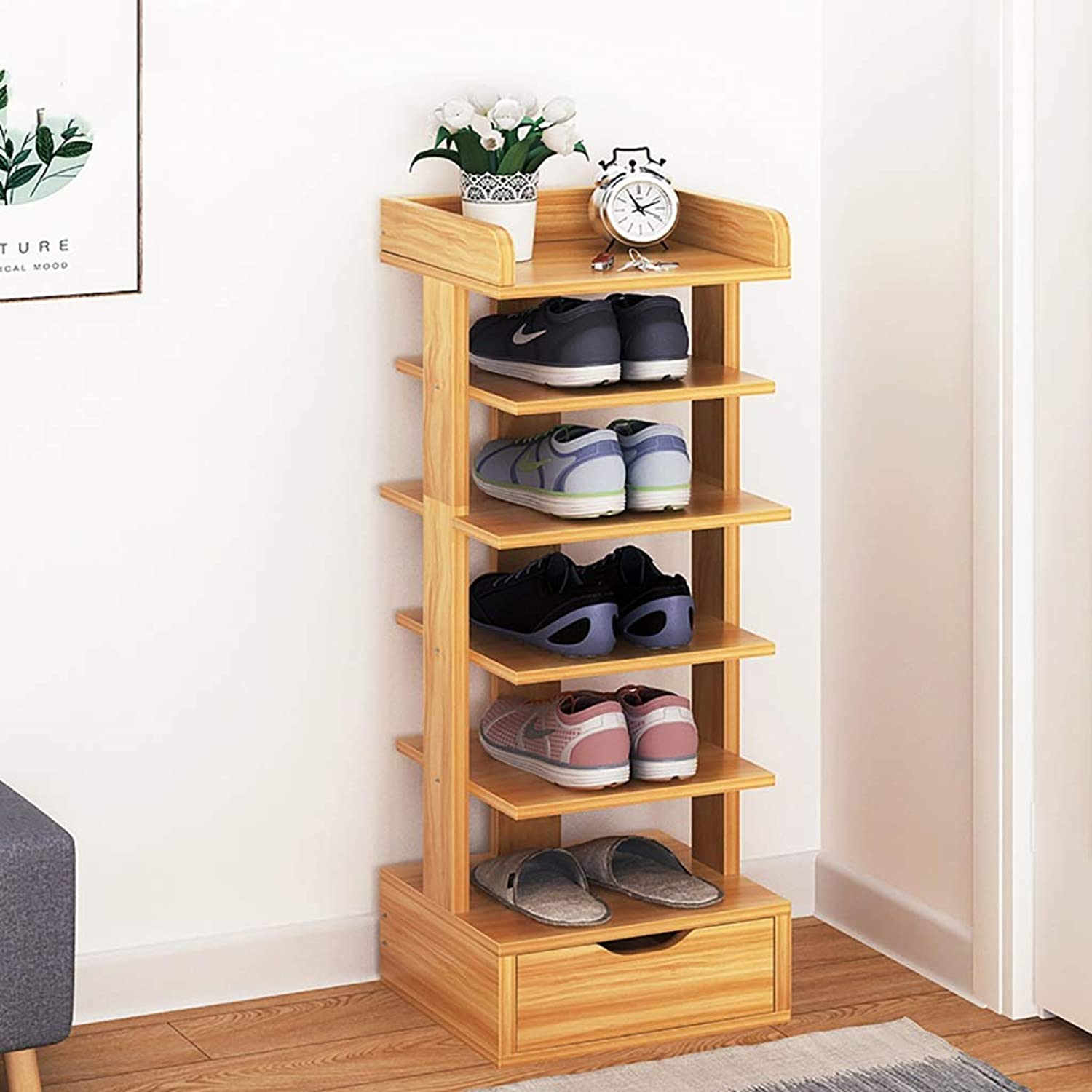 6-Layer shoes Rack Shelf Flower Stand Bookshelf Storage Shelf shoes Cabinet Multifunction Household Doorway Entrance Living Room Space Saving (color   B)