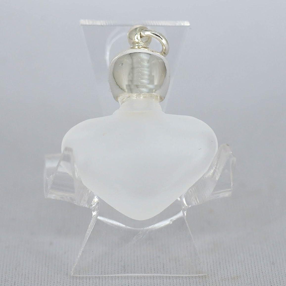 略語一節テクトニックミニ香水瓶 アロマペンダントトップ ハートフロスト(すりガラス)0.8ml?シルバー?穴あきキャップ、パッキン付属【アロマオイル?メモリーオイル入れにオススメ】