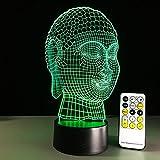 Remote Touch Buddha 3D LED Lámpara Power Bank Usb Lámpara Led Mini Led Light Batería Acrílico Noche Luz 7 Color Regalo de Año Nuevo