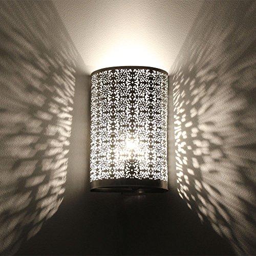 albena shop 71-5315 Kavita oriental lámpara de pared estilo marroquí 30 x 19 cm metal plata ⭐