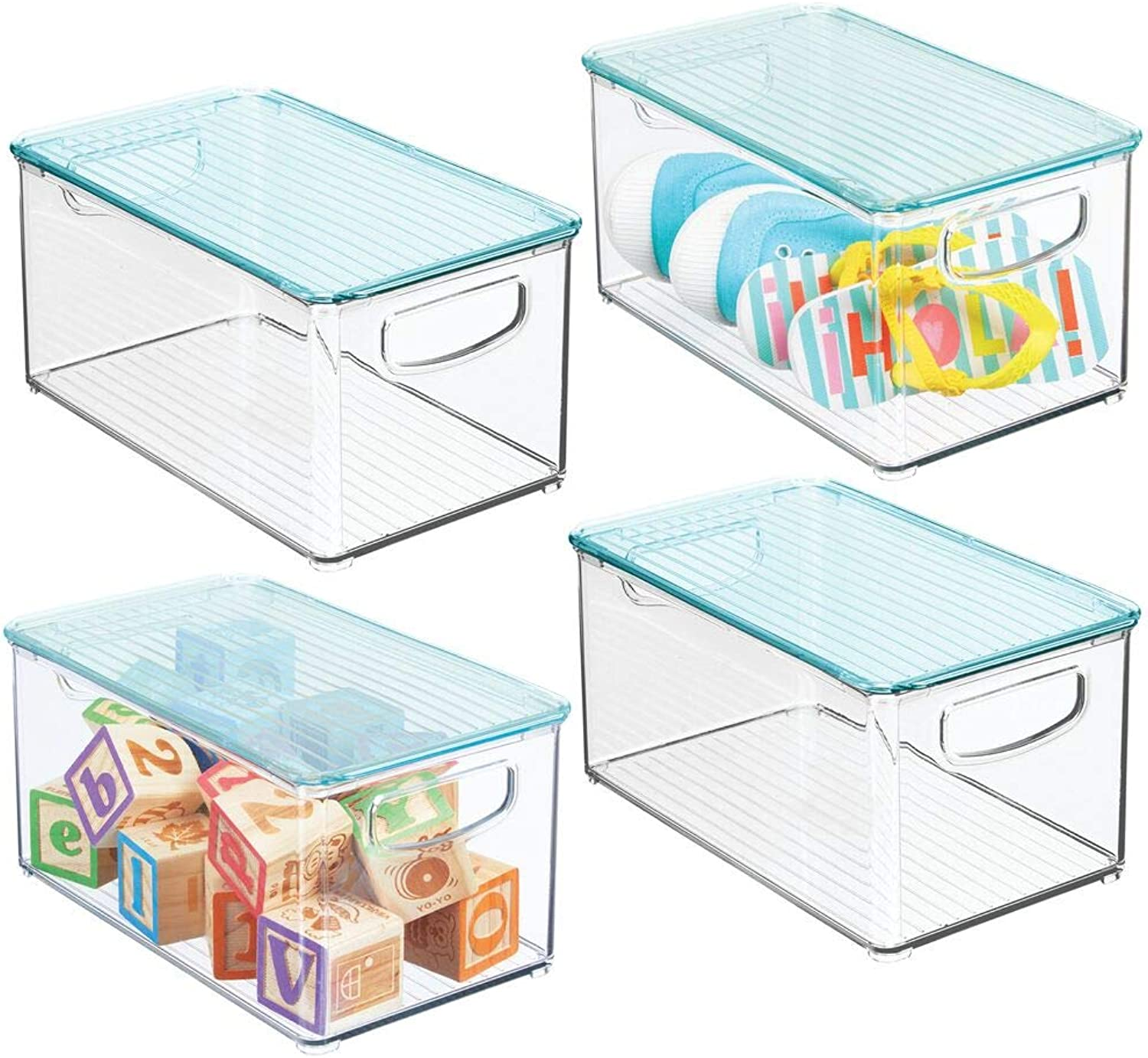 MDesign Storage Organizer Bin Box with Lid for Kid Supplies in Kitchen, Pantry, Nursery, Bedroom, Playroom - Holds Snacks, Bottles, Baby Food, Diapers, Wipes, Toys - 10  Long, 4 Pack - Clear Sea bluee