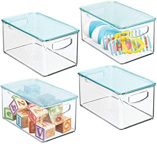 mDesign Storage Organizer Bin Box with Lid for Kid Supplies in Kitchen, Pantry, Nursery, Bedroom, Playroom - Holds Snacks, Bottles, Baby Food, Diapers, Wipes, Toys - 10