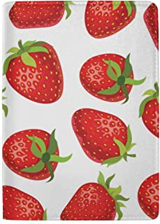 Strawberries Perfect for Wallpapers Blocking Print Passport Holder Cover Case Travel Luggage Passport Wallet Card Holder Made with Leather for Men Women Kids Family