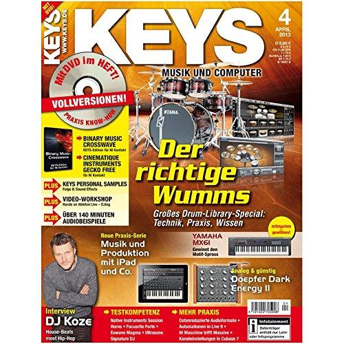 Keys 4 2013 mit DVD - Drum Library Special - Binary Music Crosswave Software auf DVD - Personal Samples - Free Loops - Audiobeispiele
