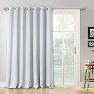 RYB HOME Room Darkening Patio Door Curtain, Hanging Room Divider Screen Insulated Drapes Privacy Wall Panel for Large Window/Bedroom/Living Room, 100 inches W x 95 inches L, Greyish White