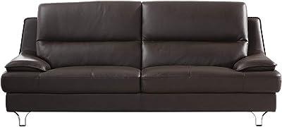 Benjara Leather Upholstered Sofa with Spilt Back, Pillow Top Armrest and Steel Feet, Dark Brown,