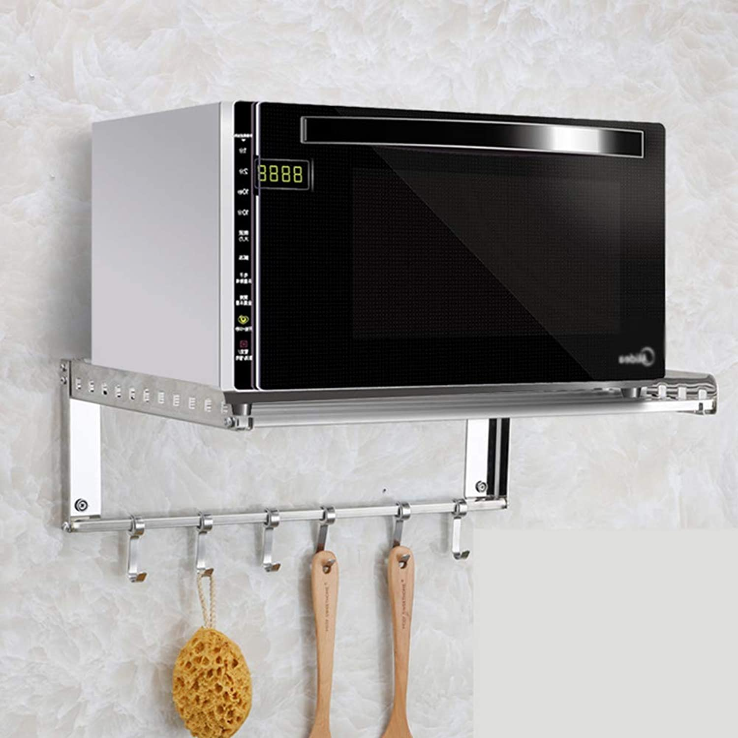 Wall Mounted Kitchen Microwave Oven Rack Stainless Steel Bathroom Kitchen Shelf Organizer with S-Shape Hooks