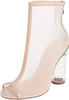 Catwalk Women's Crystal Heel Peep Toe Booties