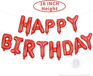 Happy Birthday Red Balloons Banner,16 Inch Mylar Foil Letters Balloons Reusable Ecofriendly Material for Birthday Party Decorations and Supplies(with Ribbon)