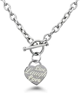Tioneer Stainless Steel Live Laugh Love Engraved Heart Tag Charm, Necklace Only