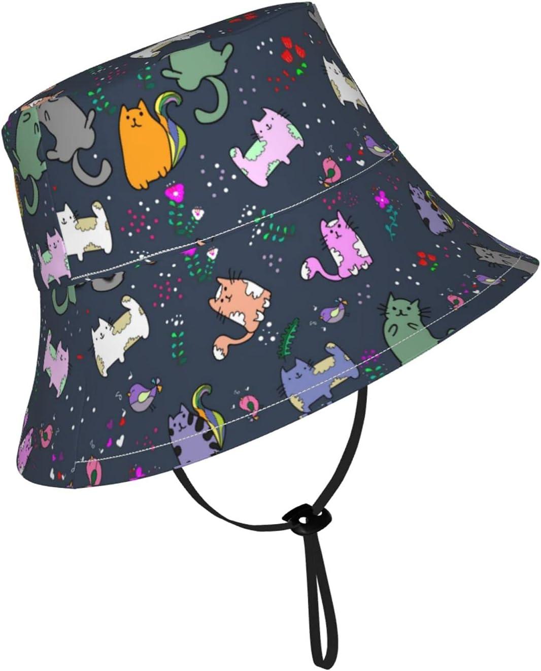 Jsragt Cute Cat with Little Bird Miami Mall Sun Adjusta 5% OFF Hat Kids Breathable
