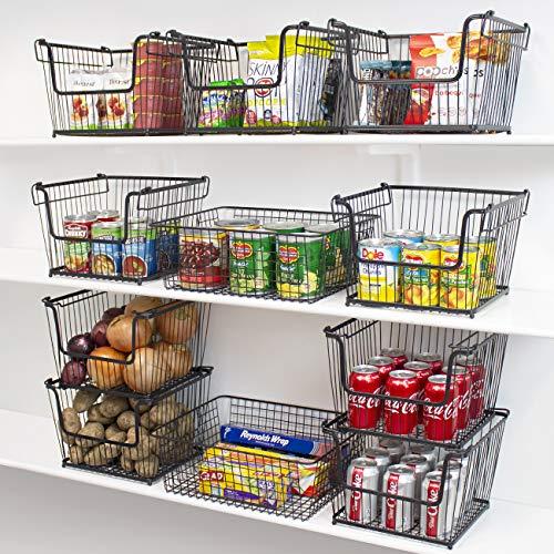 Wire Metal Basket Bin, Stackable Storage Baskets, Cubby Bins for Pantry Snacks
