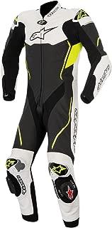 Alpinestars Atem Men's 1-Piece Street Motorcycle Race Suits - Black/White/Yellow / 54