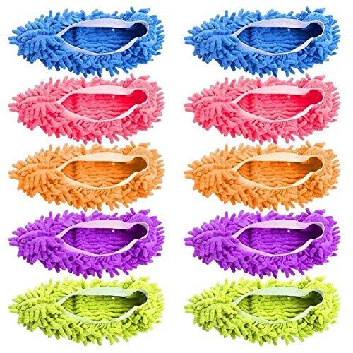 Pantuflas de microfibra, limpiadoras de pisos, fundas de zapatos, mopa de polvo, zapatillas de limpieza de casa para hombres y mujeres, oficina, cocina, pulido de casa, lavables, 5 pares [10 piezas]