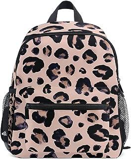 Mochila para niños Bolso Preescolar de jardín de Infantes de Leopardo Negro Rosa para niñas pequeñas Niños