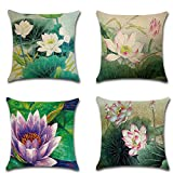 AKPOWER Cushion Cover Lotus Flower Throw Pillow Cases, Decorative Cushion Covers for Sofa Bedroom Car 18 x 18 Inch Set of 4