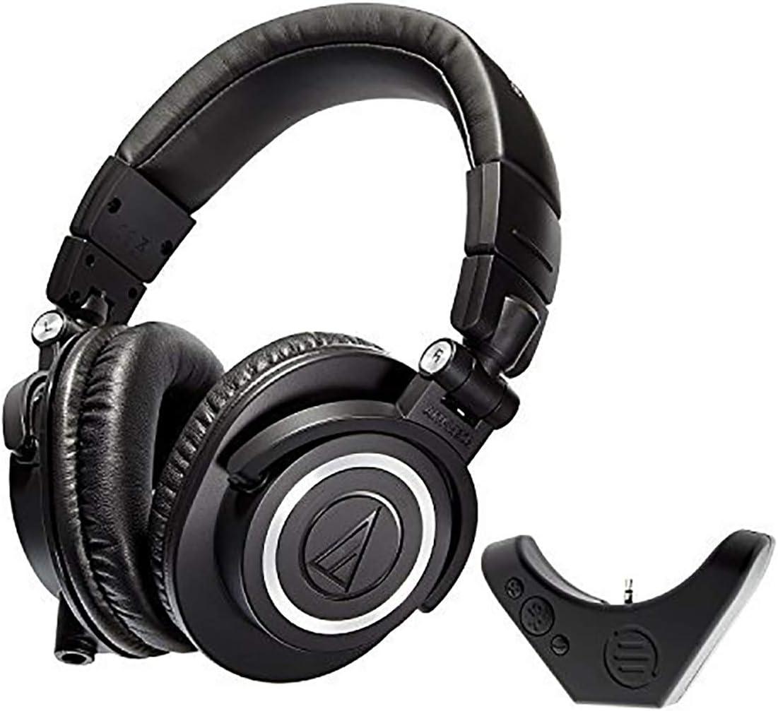 Audio Technica ATH M50x Studio Headphone with East Brooklyn Labs Bluetooth Wireless Adapter. Black, 10.9 (Renewed)