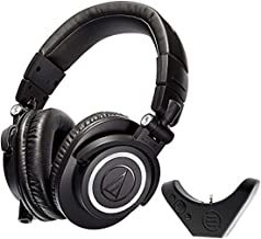 Audio Technica ATH M50x Studio Headphone with East Brooklyn Labs Bluetooth Wireless Adapter. (Renewed)