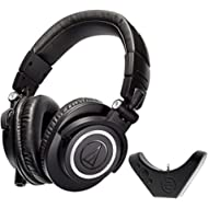 Audio Technica ATH M50x Studio Headphone with East Brooklyn Labs Bluetooth Wireless Adapter....