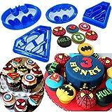 KAISHANE Aussteckform-Set für Kekse, Formen: Superman/Batman, 4 Stück, Plastik, blau, Batman