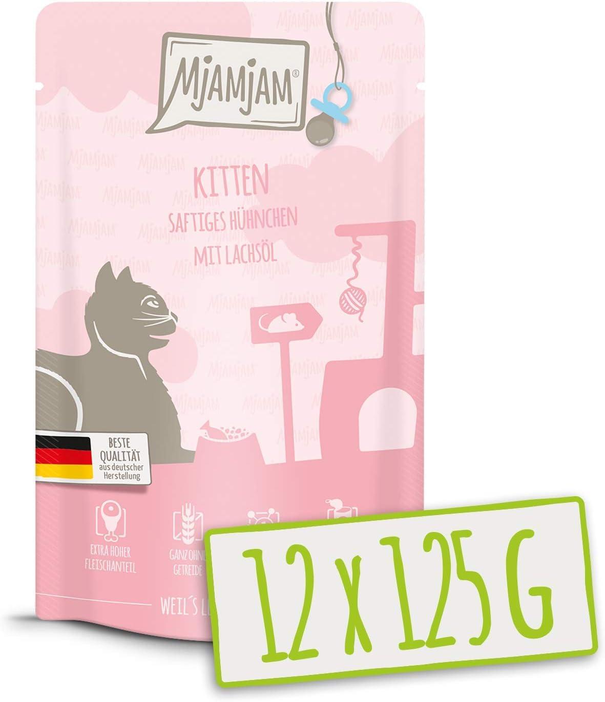 MjAMjAM - Pienso acuoso para Gatitos - Comida para Gatitos de Pollo jugoso Refinado con Aceite de salmón - Sin Cereales - Pouch 12 x 125 g