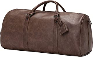 Travel Duffle Holdalls,PU Holdall Sports Duffle Bag With Shoes Compartment For Business Travel Hiking Camping (Color : Brown)