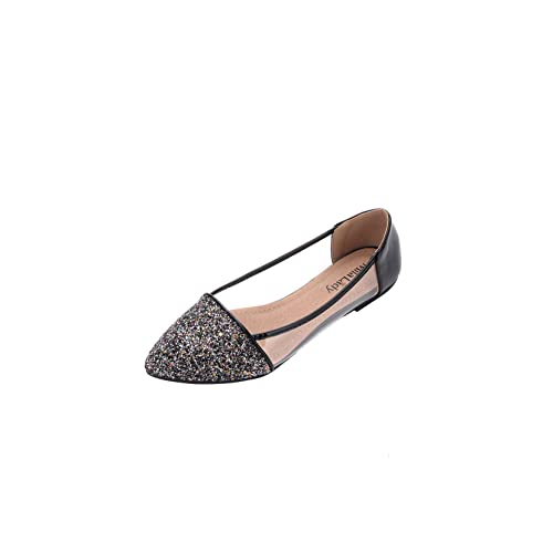 e075f77d3653 Mila Lady Mavis Fashion New Sparkling Embellish Glitter Slip Loafer Pointed Flat  Shoes
