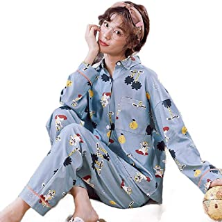 Howely Womens Cotton Blend Lounger Long-Sleeve Top Pants Cute Pjs Set