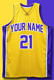 BA IMAGE Personalized Basketball Jersey 13x19 Poster Purple and Gold Your Name & Number!