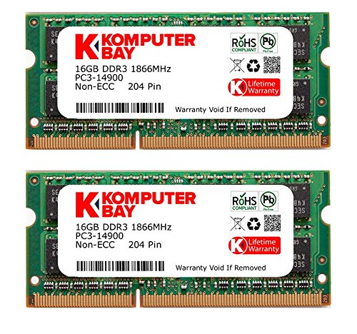 Komputerbay 32GB Dual Channel Kit 2 x 16GB 204-pin DDR3-1866 SO-DIMM 1866 PC3-12800 (1.866 MHz, CL13) 1867MHz
