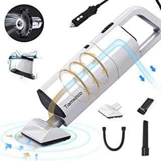 Handheld Car Vacuum Cleaner with High Power Suction, Tiamxinco DC 12V Portable Auto Wet Dry Hand Vacuum with Reusable HEPA Filter for Pet Hair Car Cleaning