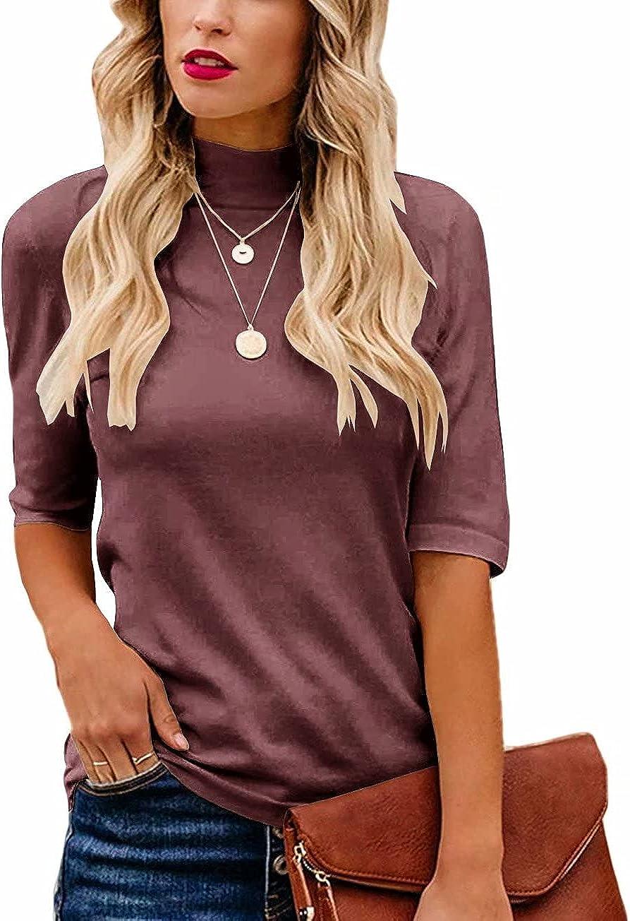 Lacozy Women's Mock Turtle Neck Tops Slim Fitted Half Sleeve Cute Plain T Shirt