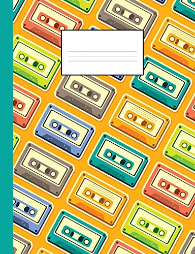 80s notebook: A fun and trendy 80's theme composition book: College ruled, soft back: Perfect for school work: Vintage casette tape design