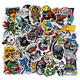 Skull Stickers 100pcs Punk Rock Pirate Crossbones Waterproof Vinyl Sticker Decals for Guitar Case Motorcycle Water Bottles Laptops Bikes Cars Bumper