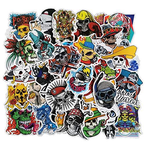 Skull Stickers 100pcs Punk Rock Pirate Crossbones Waterproof Vinyl Sticker Decals for Guitar Case Motorcycle Water Bottles Laptops Bikes Cars Bumper