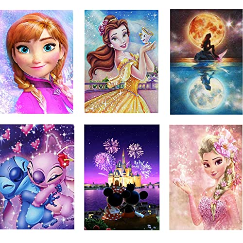 Diamond Painting,6 Pack Diamond Art Sets Round Full Drill,Cartoon Diamond Painting 6 Pack ,Perfect for Home Wall Decoration 12x16 Inch
