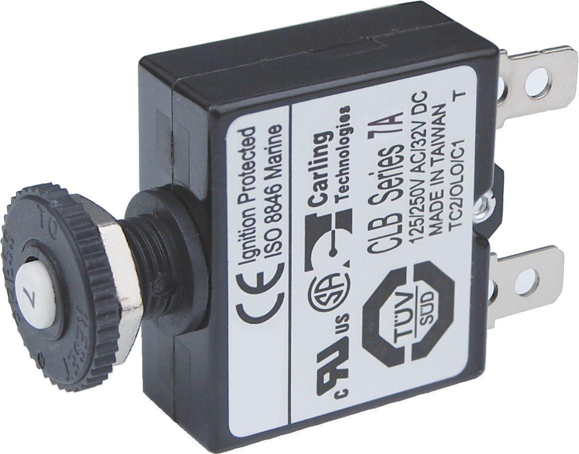 JenNiFer AC 125-250V Push Button Reset Quick Connect Terminal Circuit Breaker Plastic 10A