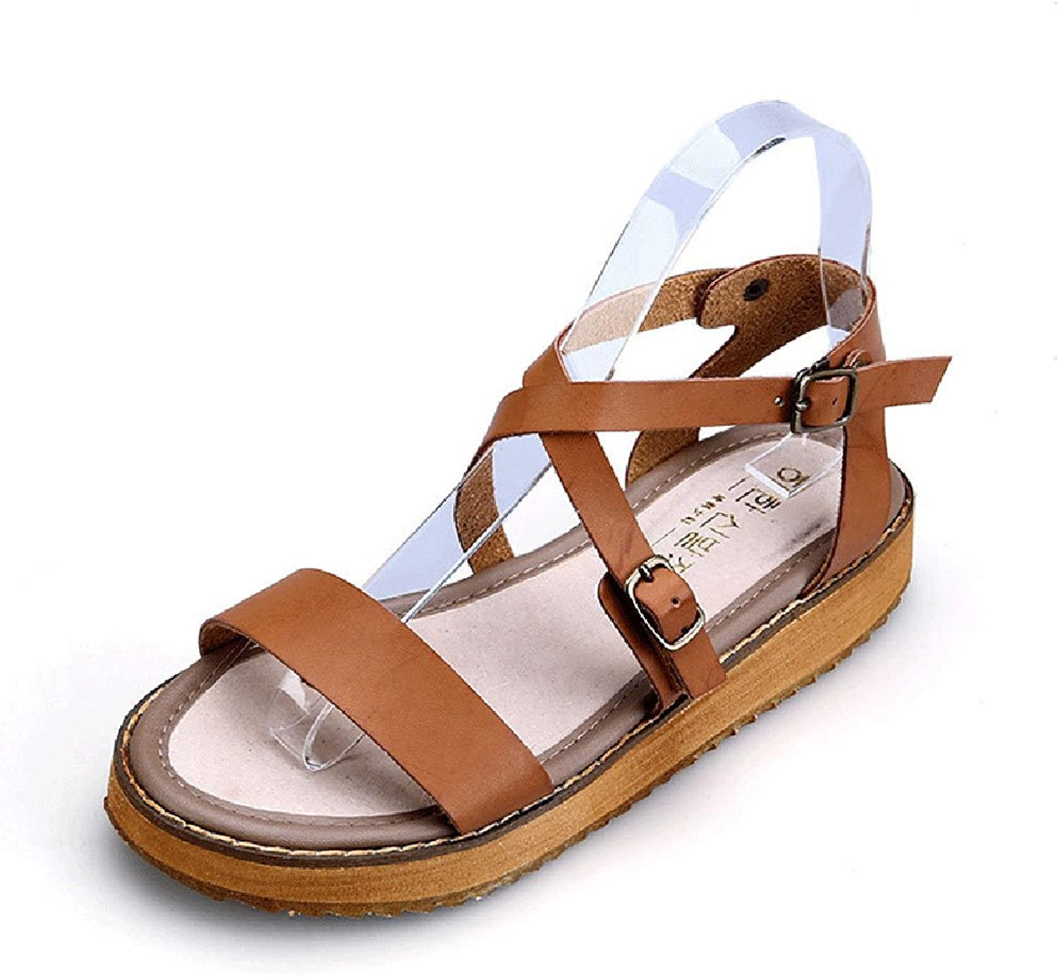 Fuoks Flat Leather Buckled Ankle Strap Summer Womens Sandals