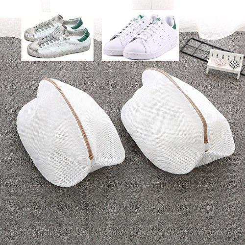 Wäschebeutel für Schuhe 2 Stück Wäschenetz für Schuhe mit haltbarem Reißverschluss, Schuh-Wäschebeutel/Wäschenetz/Aufbewahrungstasche für die Waschmaschine (2pcs weiß)