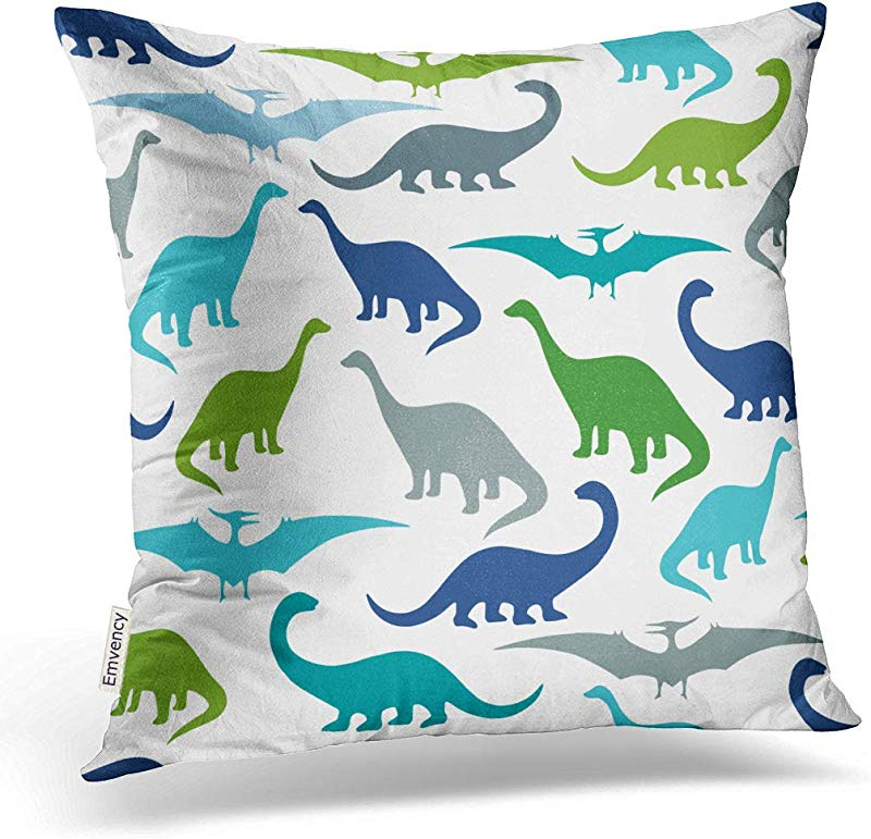 Emvency 18X18 Inch Decorative Throw Pillow Cover Polyester Blue Dino With Cartoon Dinosaurs Party And Children Room Colorful Silhouette Animal Baby Cushion Two Sides Pillow Case Square Print For Home